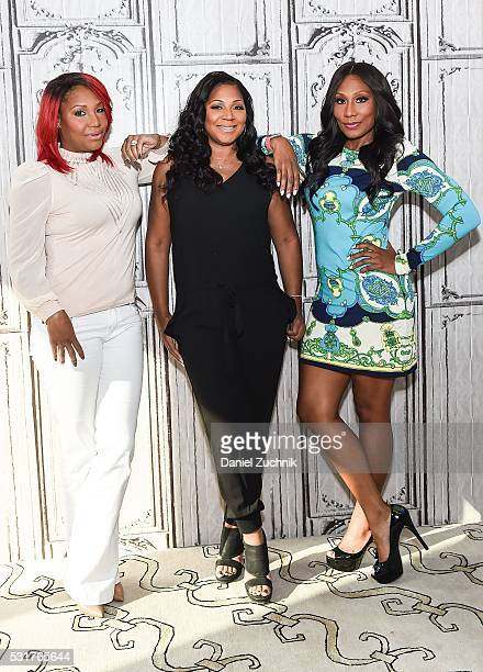Traci Braxton, Trina Braxton and Towanda Braxton attend AOL Build to discuss the show 'Braxton Family Values' on May 16, 2016 in New York, New York.