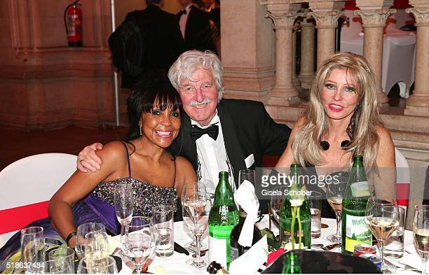 Tracie Mayer niece of Quincy Jones Gisela Muth and her husband Hans Georg Muth during the 7th 'Filmball Vienna' at City Hall on April 1 2016 in...