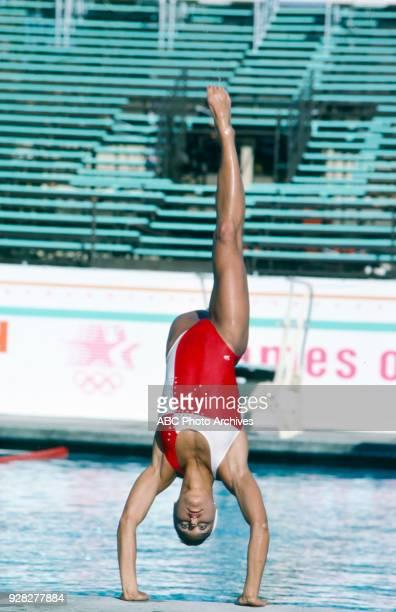 Tracie Ruiz, Women's solo synchronized swimming practice, McDonald's Olympic Swim Stadium, at the 1984 Summer Olympics, August 8, 1984.