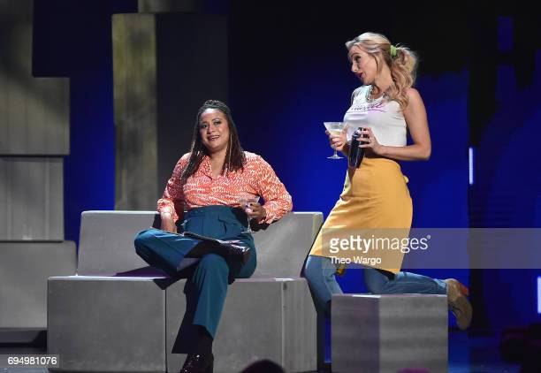 Tracie Thoms and Betsy Wolfe perform with the cast of 'Falsettos' onstage during the 2017 Tony Awards at Radio City Music Hall on June 11 2017 in New...