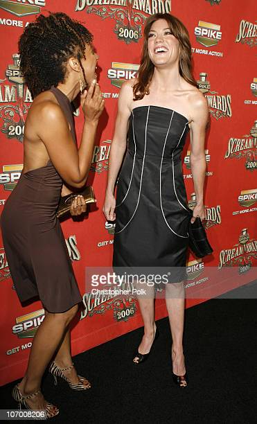 Tracie Thoms and Jennifer Carpenter during Spike TV's 'Scream Awards 2006' Red Carpet at Pantages Theater in Hollywood California United States