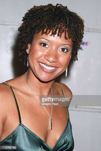 Tracie Thoms backstage at Vera Wang Spring 2006 during Olympus Fashion Week Spring 2006 Vera Wang Front Row and Backstage at Bryant Park in New York...