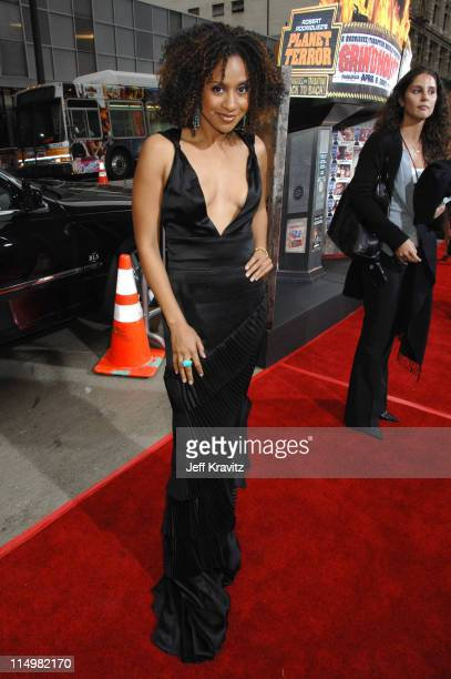 Tracie Thoms during 'Grindhouse' Los Angeles Premiere Red Carpet at Orpheum Theatre in Los Angeles California United States