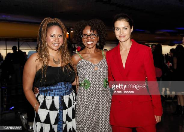 Tracie Thoms LisaGay Hamilton and Hannah Ware attend the premiere of Hulu's 'The First' after party at California Science Center on September 12 2018...
