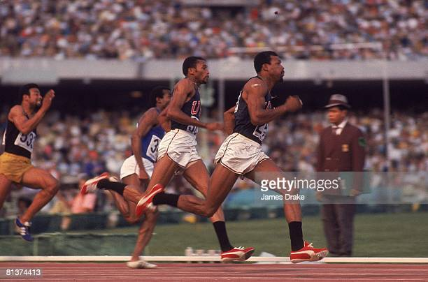 Track 1968 Summer Olympics USA Tommie Smith and John Carlos in action during 200M competition Mexico City MEX