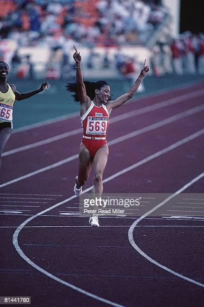 Track 1988 Summer Olympics USA Florence Flo Jo Joyner Griffith victorious after race Seoul KOR 9/29/1988