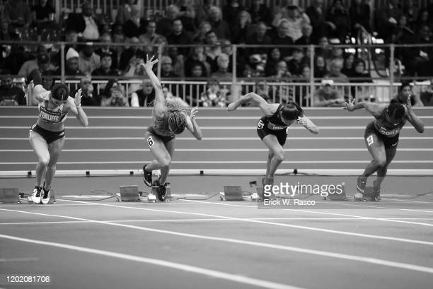 113th NYRR Millrose Games: USA Briana Williams and USA Allyson Felix in action during Women's 60M Dash at The Armory. New York, NY 2/8/2020 CREDIT:...