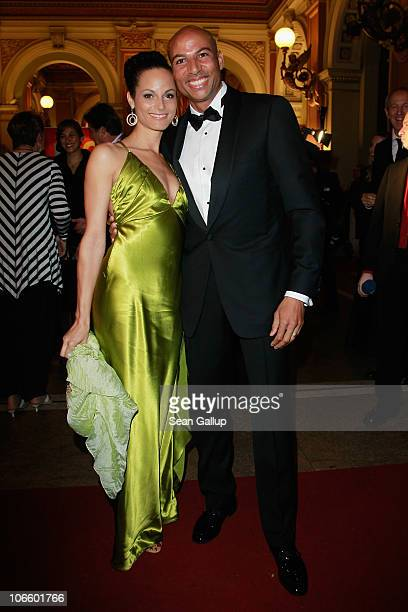 Track and field athlete Edgar Itt and his wife Ariane Roth attend the Sportpresseball 2010 at Alte Oper on November 6 2010 in Frankfurt am Main...