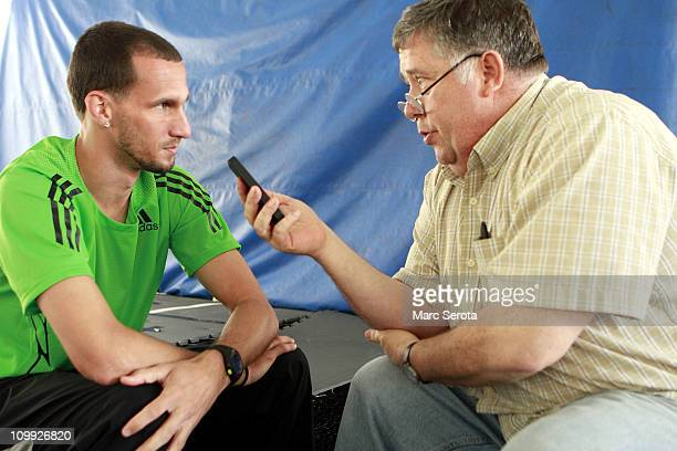 Track and Field athlete Jeremy Wariner chats with the media at a training facility on March 10 2011 in Orlando Florida