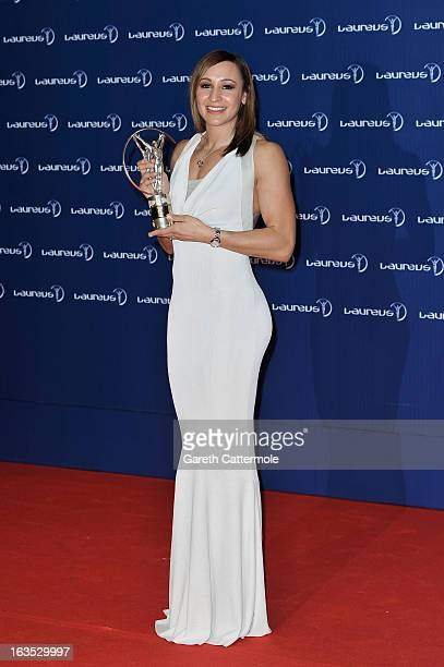 Track and field athlete Jessica Ennis with her award for 'Laureus Sportswomen of the Year' attends the Winners Press Conferences Photocall at the...