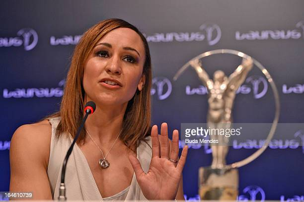 Track and field athlete Jessica Ennis with her award for 'Laureus Sportswomen of the Year' at the Winners Press Conferences Photocall at the Theatro...