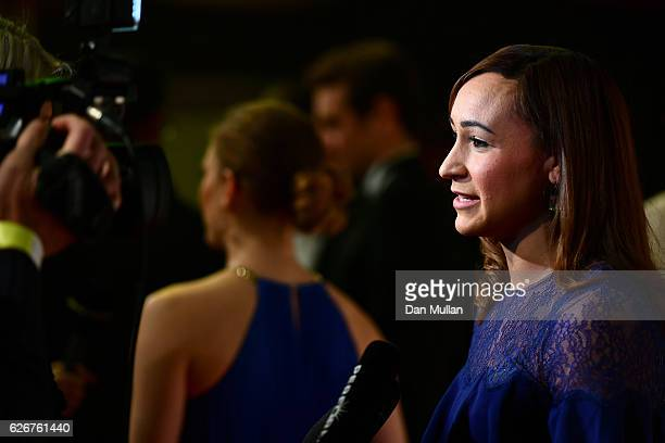 Track and field athlete Jessica EnnisHill talks to reporter as she attends the Team GB Ball at Battersea Evolution on November 30 2016 in London...