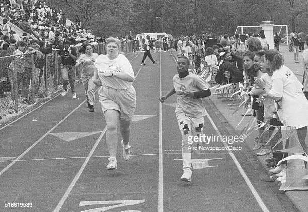 Track and field athletes during the Special Olympics Maryland 1995