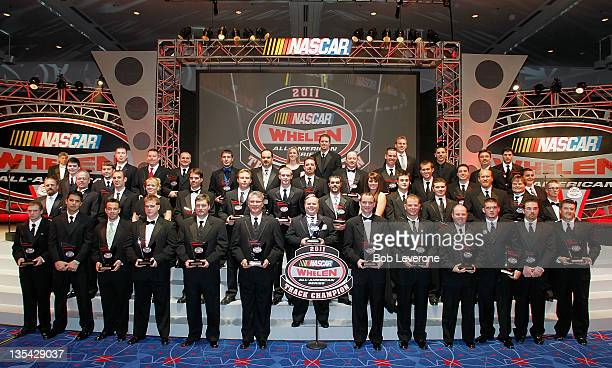Track Champions pose during the NASCAR Whelen AllAmerican Series Awards Banquet held at the Charlotte Convention Center on December 9 2011 in...