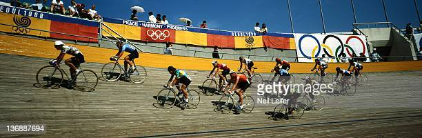 Track Cycling 1988 Summer Olympics Panoramic view of miscellaneous track cycling action at the Olympic Velodrome Seoul South Korea 9/18/1988...