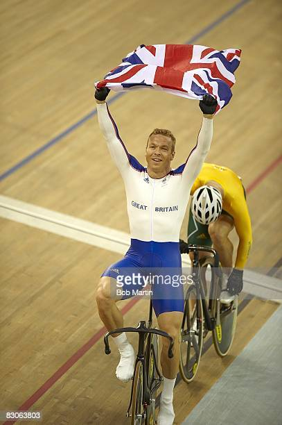 2008 Summer Olympics Great Britain Chris Hoy victorious after Men's Keirin Final at Laoshan Velodrome Hoy won the gold medal Beijing China 8/16/2008...