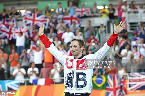 Track Cycling - Olympics: Day 11 Jason Kenny of Great Britain on the podium after his gold medal ride in the Men's Keirin during the track cycling...