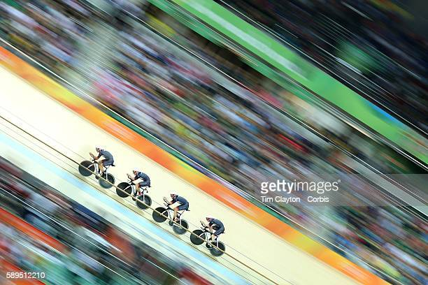 Track Cycling - Olympics: Day 6 The Great Britain team of Edward Clancy, Steven Burke, Owain Doull and Bradley Wiggins winning the gold medal in...