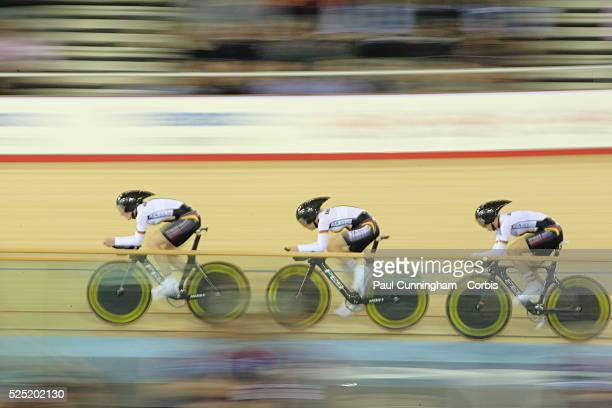 UCI Track Cycling World Cup Lisa BRENNAUER Charlotte BECKER and Madeleine SANDIG of Germany during the Women's Team pursuit 3000m Qualifying event at...