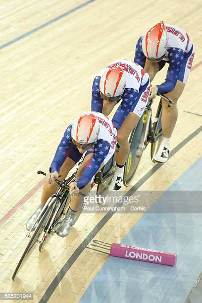 UCI Track Cycling World Cup Sarah Hammer Jennie Reed and Lauren Tamayo of the USA compete in the Women's Team pursuit 3000m Qualifying event at the...