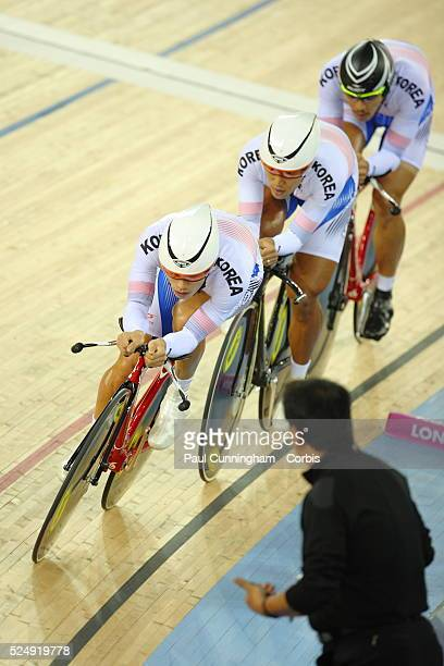 Track Cycling World Cup - Sunjae Jang, Seungwoo, Seon Ho Park and Keonwoo Park of Korea compete in the Men's Team pursuit 4000m Qualifying event at...