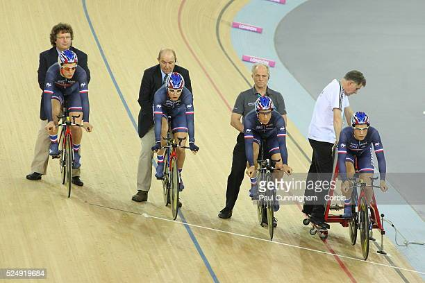 Track Cycling World Cup - Vivien Brisse, Kevin Labeque, Kevin Lesellier and Laurent Pichon of France compete in the Men's Team pursuit 4000m...
