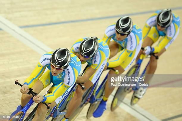 Track Cycling World Cup - Yuriy Agarkov, Maksym Poishchuk, Vitaliy Popkov and Vitaliy Schedov of the Ukraine compete in the Men's Team pursuit 4000m...