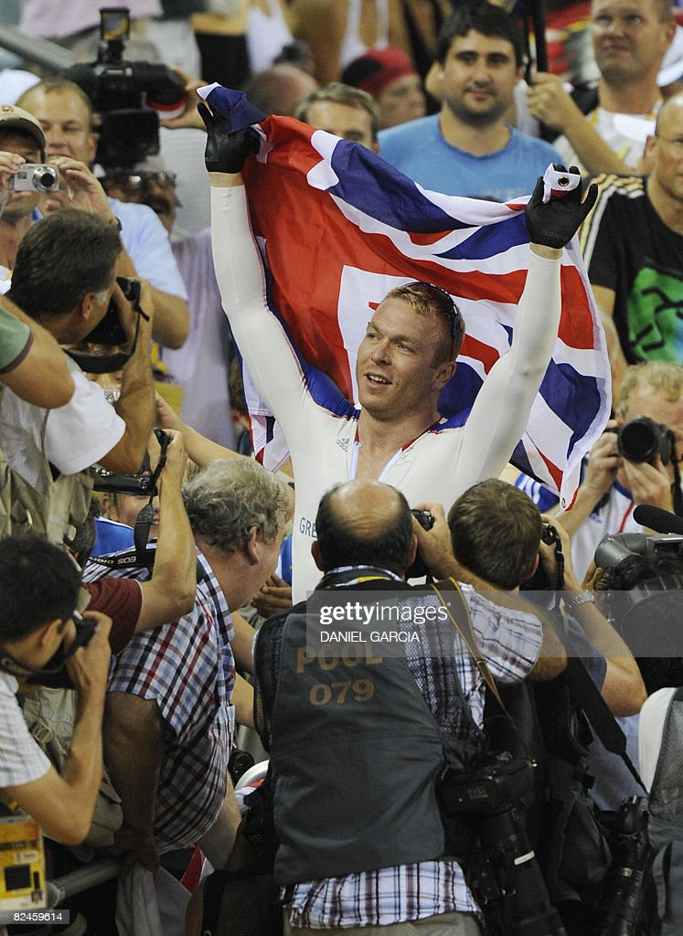 Track cyclist Chris Hoy of Great Britain celebrates after winning the gold medal in the 2008 Beijing Olympic Games men's sprint final at the Laoshan Velodrome in Beijing on August 19, 2008.
