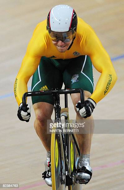 Track cyclist Mark French of Australia competes in the 2008 Beijing Olympic Games men's sprint qualifying at the Laoshan Velodrome in Beijing on...