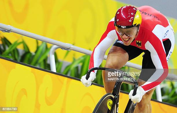 Track cyclist Maximilian Levy of Germany competes in the 2008 Beijing Olympic Games men's sprint qualifying at the Laoshan Velodrome in Beijing on...
