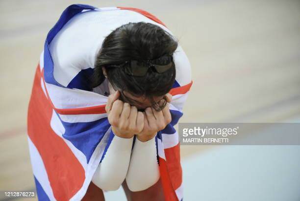 Track cyclist Rebecca Romero of Great Britain celebrates after winning the gold medal in the 2008 Beijing Olympic Games women's individual pursuit...