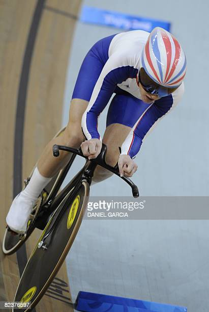 Track cyclist Wendy Houvenaghel of Great Britain competes in the 2008 Beijing Olympic Games women's individual pursuit first round at the Laoshan...