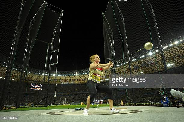 12th IAAF World Championships: Germany Betty Heidler in action during Women's Hammer Throw Final at Olympiastadion. Heidler won silver. Berlin,...