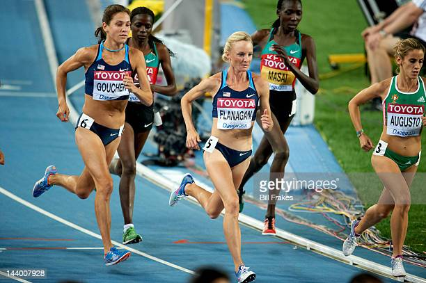 13th IAAF World Championships in Athletics USA Shalane Flanagan and Kara Goucher in action during Women's 10000M Final at Daegu Stadium Daegu South...