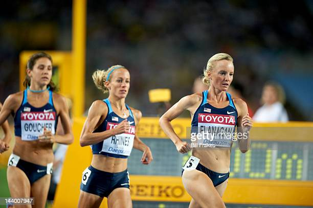 13th IAAF World Championships in Athletics USA Shalane Flanagan Jennifer Rhines and Kara Goucher in action during Women's 10000M Final at Daegu...