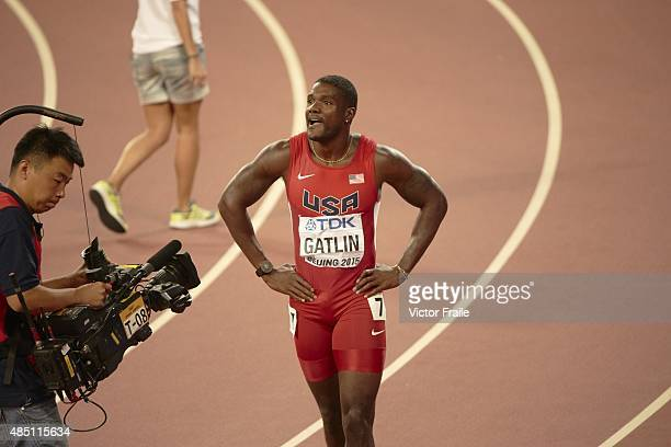15th IAAF World Championships USA Justin Gatlin on track after winning silver during Men's 100M Final at National Stadium Beijing China 8/23/2015...