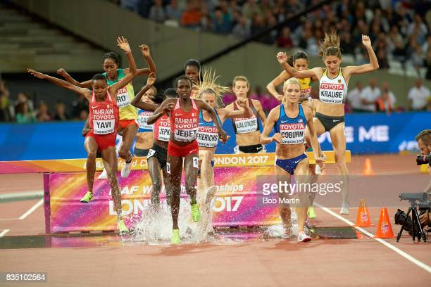 16th IAAF World Championships Bahrain Winfred Mutile Yavi Bahrain Ruth Jebet USA Emma Coburn and Germany Gesa Felicitas Krause in action during...
