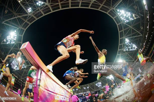 16th IAAF World Championships Morocco Soufiane El Bakkali in action during Men's 3000M Steeplechase race at Olympic Stadium London England 8/8/2017...