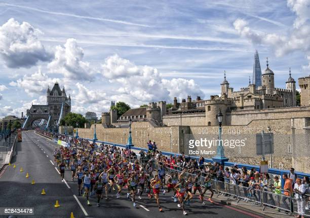 16th IAAF World Championships Overall view of runners in action during Men's Marathon at Tower Bridge London England 8/6/2017 CREDIT Bob Martin
