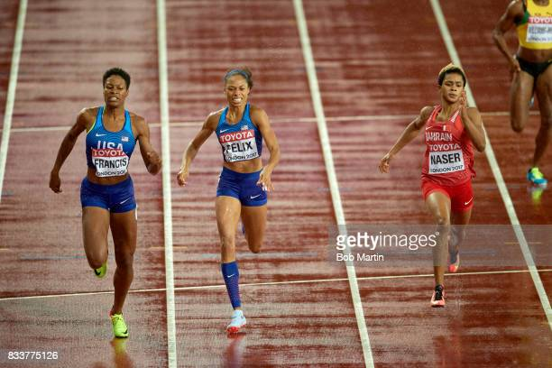 16th IAAF World Championships USA Phyllis Francis USA Allyson Felix and Bahrain Salwa Eid Naser in action during Women's 400M Final race at Olympic...