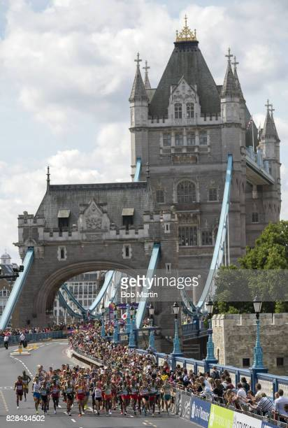 16th IAAF World Championships View of runners in action during Men's Marathon at Tower Bridge London England 8/6/2017 CREDIT Bob Martin