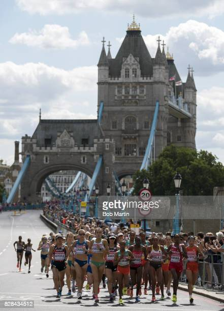 16th IAAF World Championships View of runners in action during Women's Marathon at Tower Bridge London England 8/6/2017 CREDIT Bob Martin