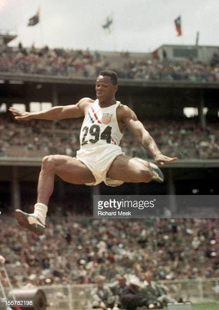 1954 Summer Olympics USA Milt Campbell in action during Long Jump portion of Decathlon at Melbourne Cricket Ground Melbourne Australia CREDIT Richard...