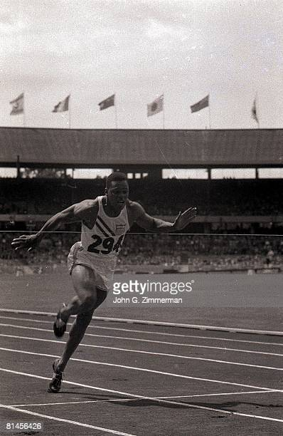 Track Field 1956 Summer Olympics USA Milt Campbell in action winning race during decathlon Melbourne AUS 12/8/1956