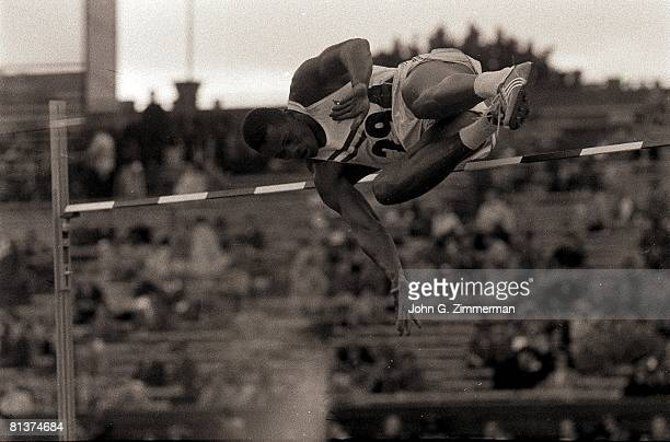 Track & Field: 1956 Summer Olympics, USA Milt Campbell in high jump action during decathlon, Melbourne, AUS --12/8/1956