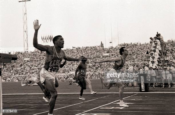 Track & Field: 1960 Summer Olympics, ITA Livio Berruti in action, winning 200M race and setting new world record, USA Lester Carney in second place,...