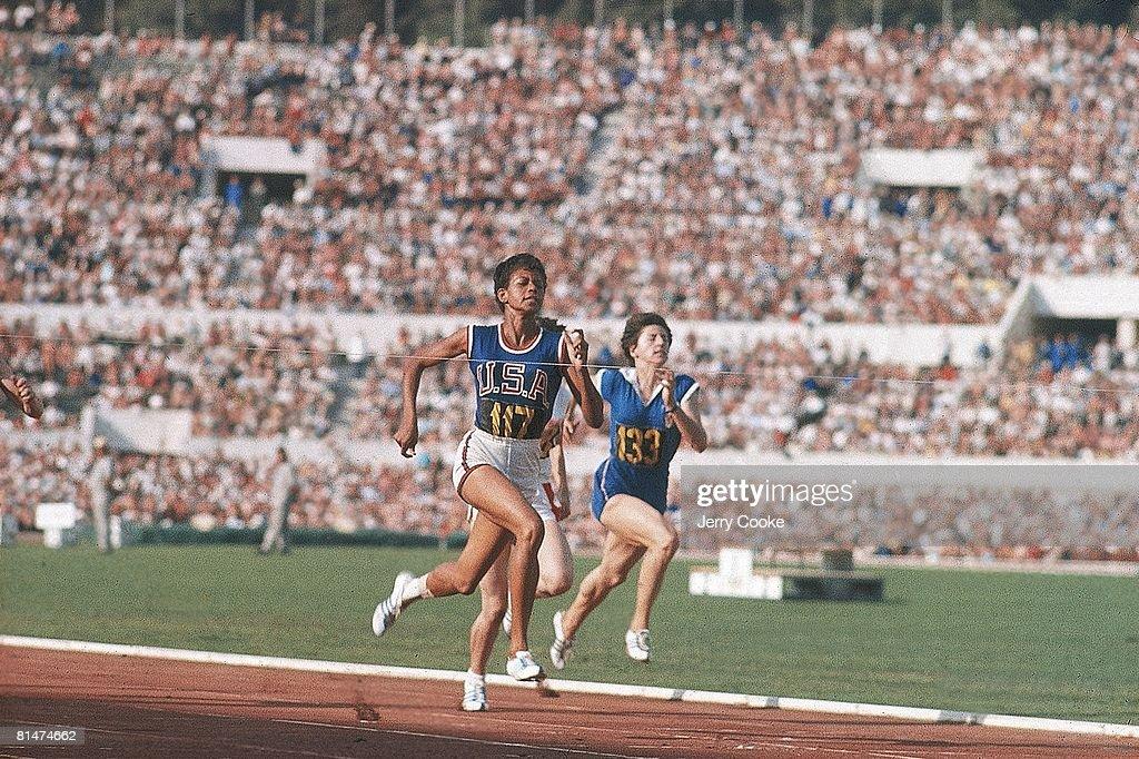 1960 Summer Olympics, USA Wilma Rudolph in action winning 100M race at Olympic Stadium, Rome, ITA 9/19/1960