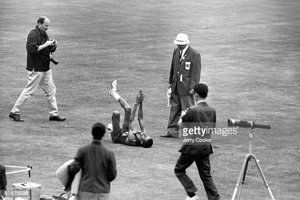 Track Field 1964 Summer Olympics ETH Abebe Bikila victorious after winning marathon at Olympic Stadium Tokyo JPN