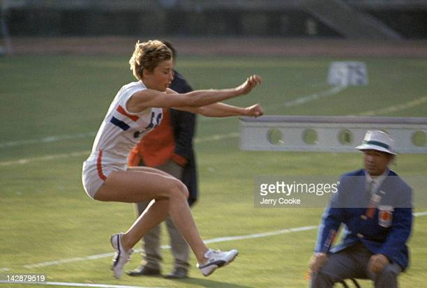 Summer Olympics: Great Britain Mary Rand in action during Women's Long Jump Finals at Olympic Stadium. Tokyo, Japan CREDIT: Jerry Cooke