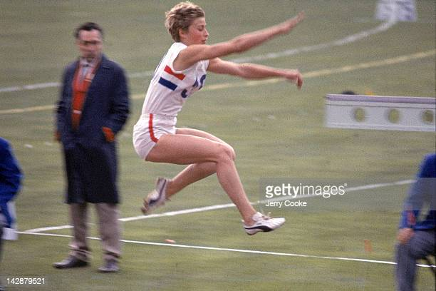 1964 Summer Olympics Great Britain Mary Rand in action during Women's Long Jump Finals at Olympic Stadium Tokyo Japan CREDIT Jerry Cooke